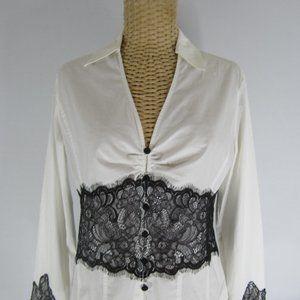 White House Black Market S LS Corset Lace Blouse